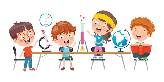 Niños pequeños estudiando clase de química