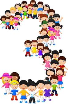 Los niños pequeños forman el número tres