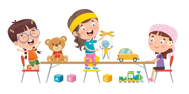 Niños pequeños jugando con juguetes
