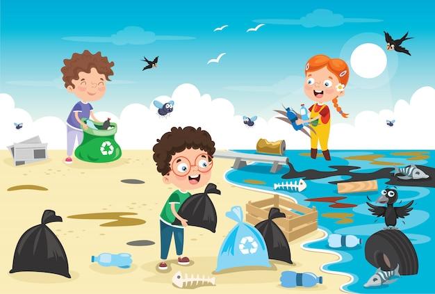 Niños pequeños limpiando la playa
