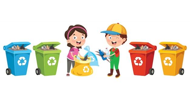 Niños pequeños limpiando y reciclando basura