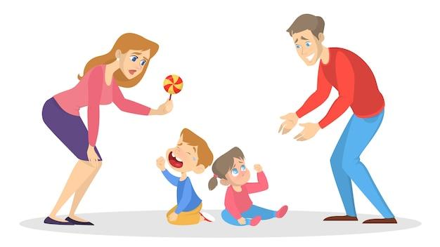 Los niños pequeños lloran y los padres tratan de calmarse