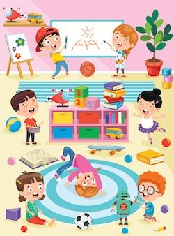 Niños pequeños que estudian y juegan en el aula de preescolar