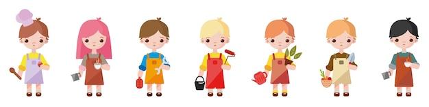 Niños pequeños que representan diferentes ocupaciones.