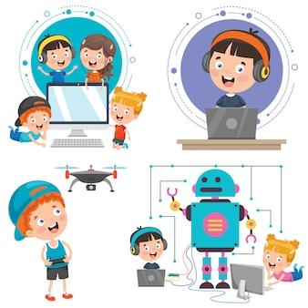 Niños pequeños que usan dispositivos tecnológicos