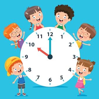 Niños pequeños con un reloj