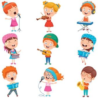 Niños pequeños tocando varios instrumentos