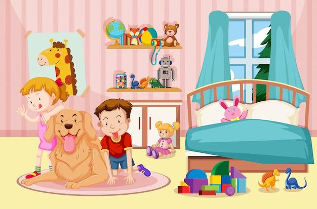 Niños y perro mascota en el dormitorio