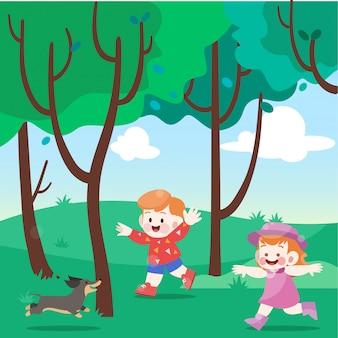 Los niños y el perro salchicha juegan en la ilustración de vector de parque