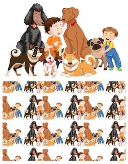 Niños y perros sin costura