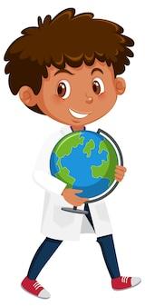 Niños en personaje de dibujos animados de traje científico aislado