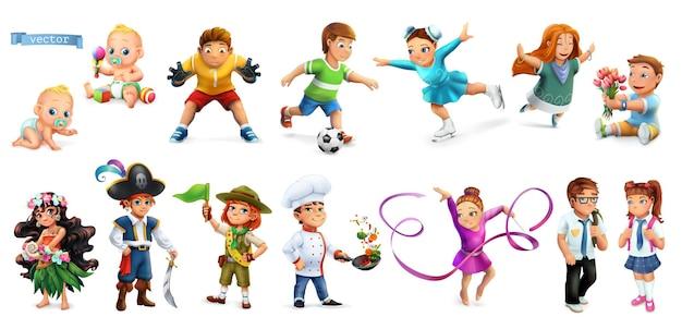 Niños. personajes de dibujos animados divertidos 3d set