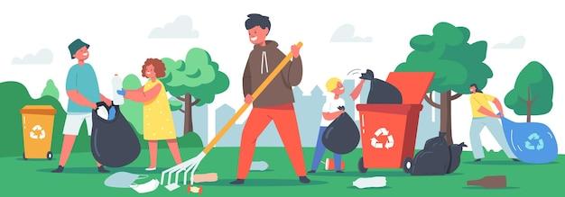 Niños personajes limpieza jardín, concepto de reciclaje de basura. protección de la ecología, voluntarios de caridad social limpieza del parque de la ciudad. niños voluntarios recogiendo basura. ilustración de vector de gente de dibujos animados