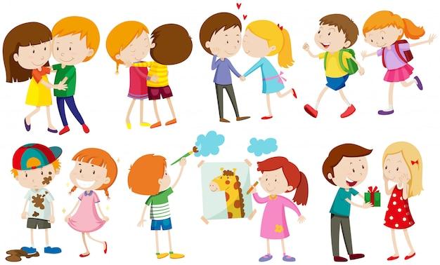 Niños y personas enamoradas