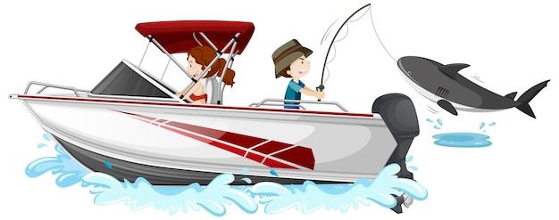 Niños pescando desde lancha rápida sobre fondo blanco.