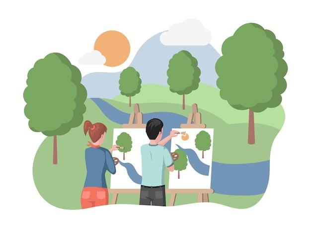 Niños de pie en el bosque o parque de la ciudad y dibujando el paisaje del lago y los árboles, ilustración plana. clases de arte al aire libre, concepto de taller creativo.