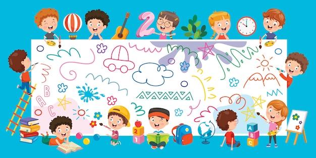 Niños pintando pancarta