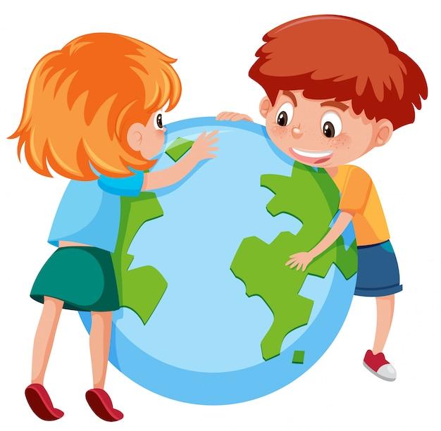 Los niños y el planeta tierra.
