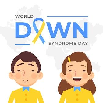 Niños planos del día mundial del síndrome de down