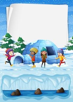 Niños en el polo norte e igloo