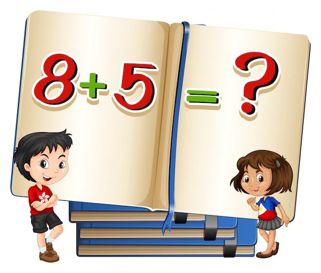 Niños y problema de matemáticas en el libro