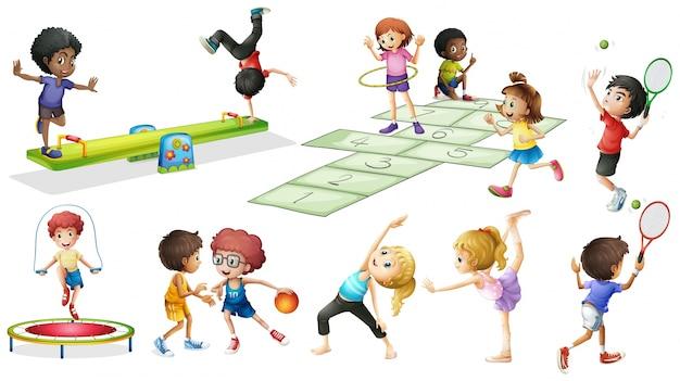 Niños que hacen diferentes deportes y juegos