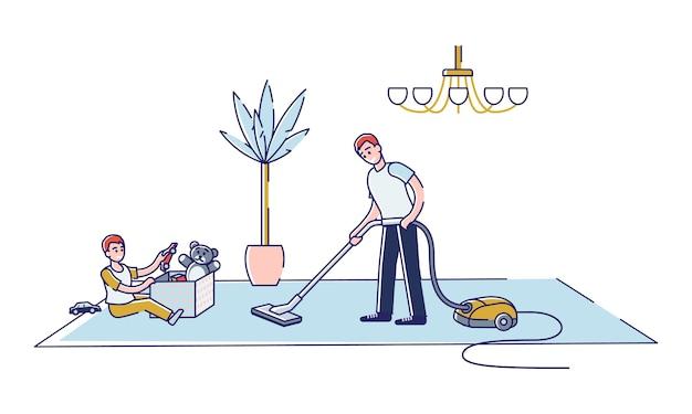 Los niños que limpian la casa ayudan a los padres con el trabajo de limpieza