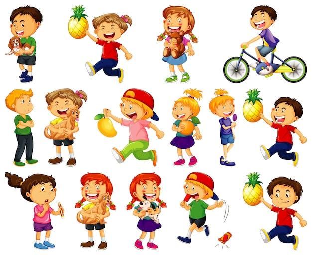 Los niños que realizan diferentes actividades conjunto de personajes de dibujos animados sobre fondo blanco