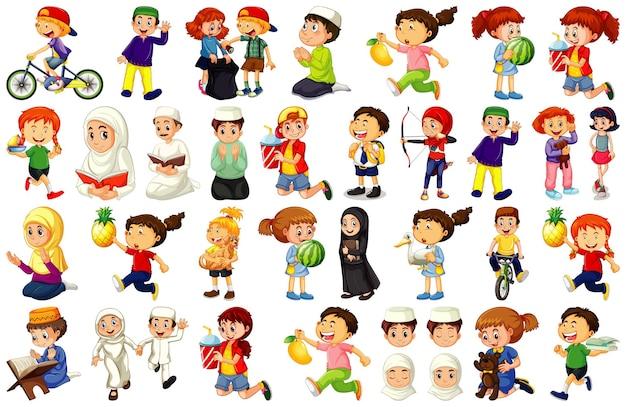 Los niños que realizan diferentes actividades conjunto de personajes de dibujos animados sobre fondo blanco.