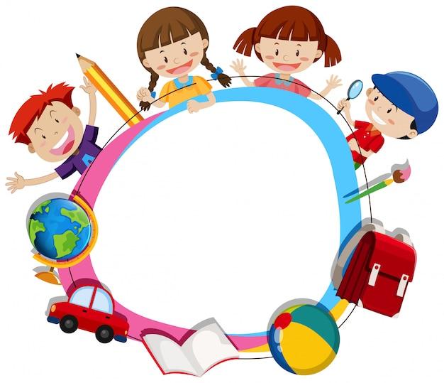 Niños que surcan un marco de círculo en blanco