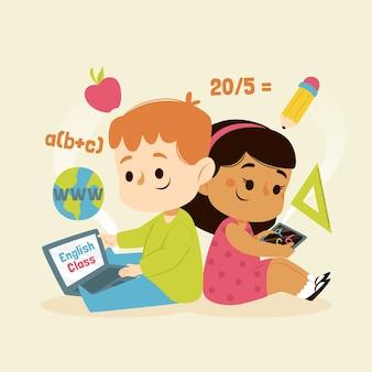 Niños que tienen clases en línea