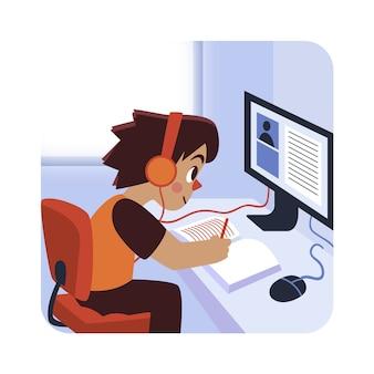 Niños que tienen el concepto de lecciones en línea