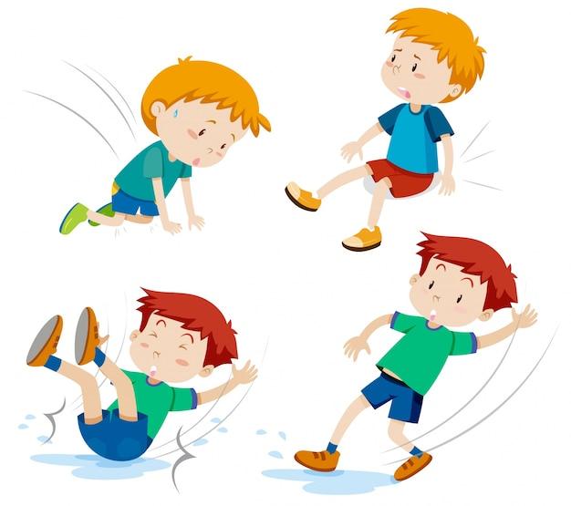 Niños que tienen diferentes tipos de accidentes