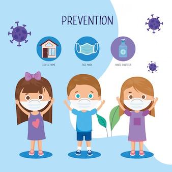 Niños que usan mascarilla con diseño de ilustración de ncov de prevención de campaña 2019