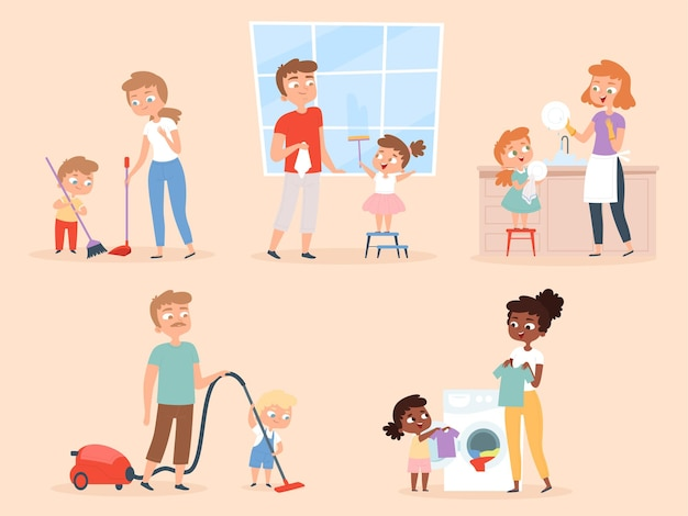 Niños quehaceres domésticos. niños ayudando a los padres a limpiar y lavar el carácter de la habitación.