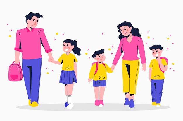 Niños de regreso a la escuela con padres