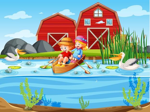 Los niños rema el bote en la escena de la granja del arroyo.