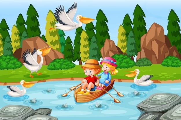 Los niños remar en el bote en la escena del bosque del arroyo.