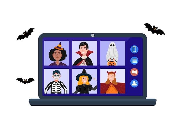 Niños en reuniones de video de disfraces de halloween debido a la cuarentena