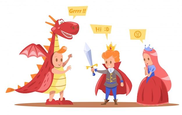 Niños rey y reina personajes diseño con dragón