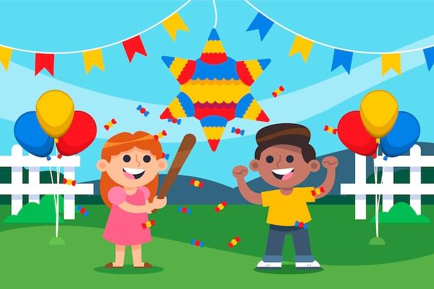 Niños rompiendo evento de piñata posada.