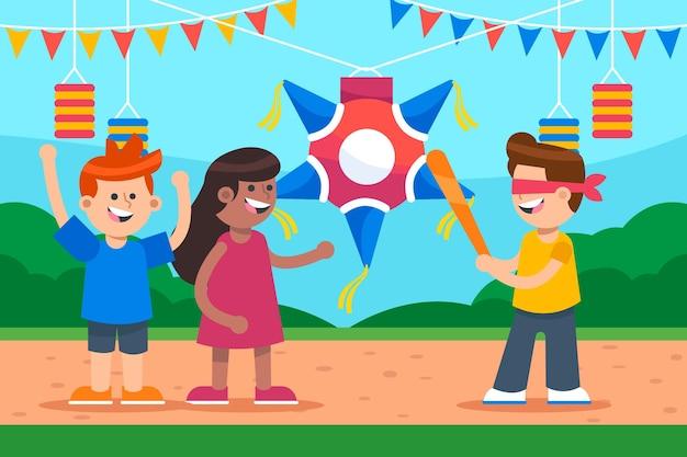 Niños rompiendo piñata mexico navidad