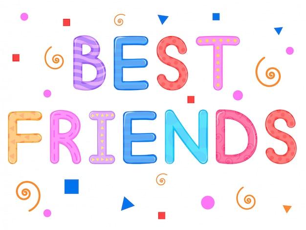 Los niños s palabras mejores amigos fondo blanco