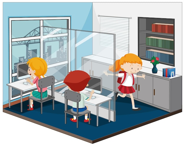 Niños en la sala de computadoras con muebles.