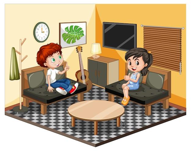 Niños en la sala de estar en escena temática amarilla sobre fondo blanco