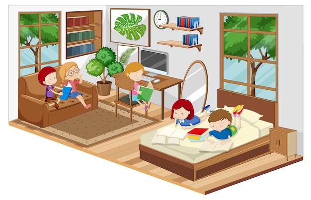 Niños en la sala de estar con muebles.