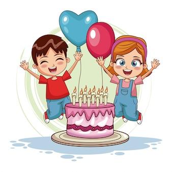 Niños saltando en cumpleaños