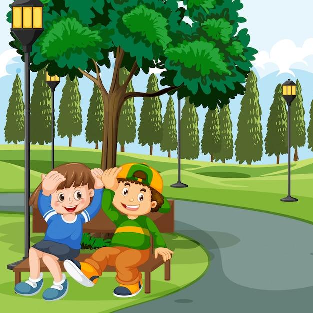 Niños, sentado, en, banca de parque