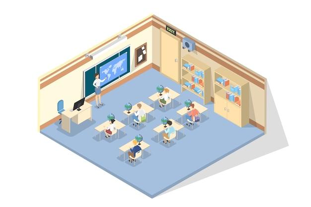 Niños sentados en la escuela en la lección. idea de educación y ciencia. profesor apuntando a la pizarra. estudia geografía. ilustración isométrica