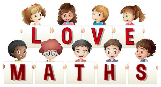 Niños con signo de amor de matemáticas